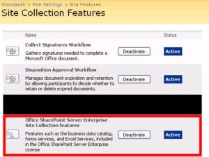 Figure 3 - Site Settings, Site Collection Features page, with Office SharePoint Server Enterprise Site Collection Feature enabled.